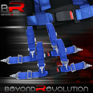 4 Point 2 Harness Racing Blue Seat Belt Pair Buckle Universal Strap Seatbelt