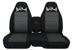 Fits Ford Ranger truck Car Seat Covers 60 40 Blk charcoal W mountain Sunset