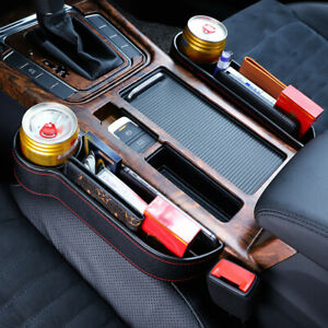 Car Seat Gap Catcher Filler Storage Box Pocket Organizer Holder Leather Suv