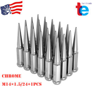 24 Pcs Chrome Spike Lug Nuts 14x1 5 For Chevy Silverado Tahoe 4 4 Tall W Key