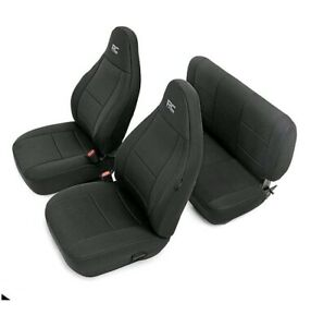 Rough Country 91000 Neoprene Seat Covers Black 1997 2002 Jeep Wrangler Tj