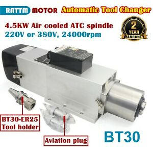4 5kw Bt30 220v Or 380v Automatic Tool Change Atc Air Cooled Spindle Motor 800hz