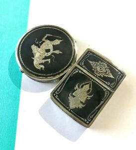 Vintage 1940 S Siam Silver Niello Compact And Lighter Case From Thailand