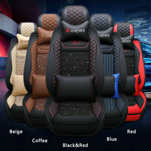 Universal Full Set 5 seats Car Seat Cover Front Rear Leather Cushion W pillows