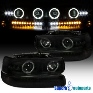 For 99 02 Silverado Black Smoke Dual Halo Projector Headlights Led Bumper Lamps