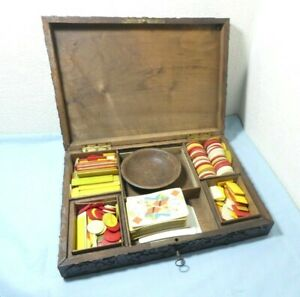 Victorian Black Forest Games Box Bovine Counters Treen Oak Acorn Wood Carving