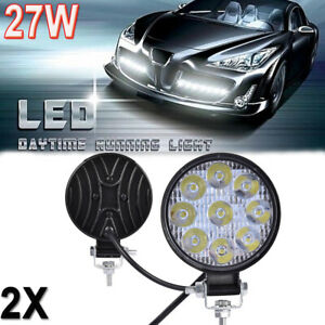 2x 27w Round Led Work Light Flood Beam Truck Off Road Fog Driving 4x4 Tractor