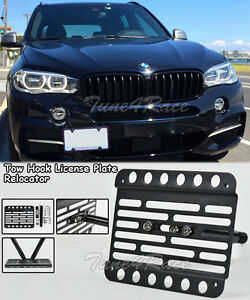 For 14 18 Bmw X5 F15 Front Tow Hook License Plate Mount Bracket Relocator No Pdc
