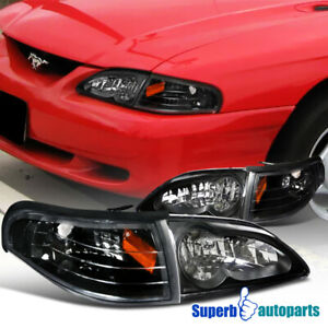 For 1994 1998 Mustang Headlight Corner Signal Lamps Black Replacement