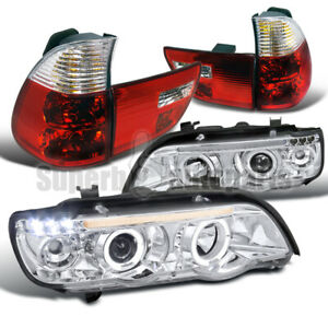For 2001 2003 Bmw X5 Led Halo Projector Headlights tail Brake Lights Red E53