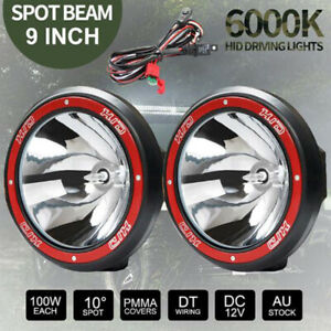 2pcs 9inch Hid Xenon Fog Work Light 100w 12v Spot For Offroad Atv Driving Lampuf
