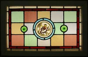 Victorian English Leaded Stained Glass Window Hand Painted Bird 24 X 15 75