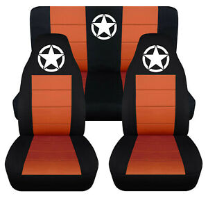Front Rear Car Seat Covers Blk Burnt Orange W Army Star Fits Wrangler Yj Tj Lj