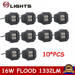 10x Flush Mount 5inch 16w Square Led Work Light Flood Off road Fog 4wd Atv Truck