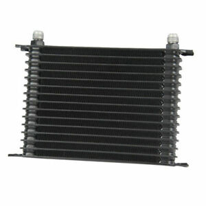 15 Row 10an Black Powder Coated Universal Coolant Transmission Engine Oil Cooler
