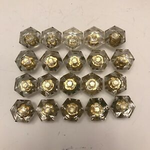 20 Vintage Multi Faceted Glass Knobs W Brass Base 6 Sided Pulls 2b