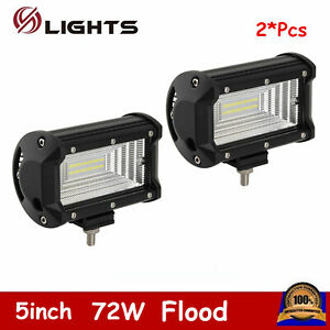 2x 5inch 72w Led Light Bar Flood Pods Driving Off road Tractor Tri Row 7d Lens