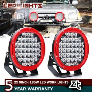 2x 9 Inch 185w Round Spot Led Work Light Bar Off road For Jeep Bumper Roof Suv