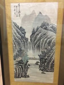Rare Chinese Ink Watercolor Painting Landscape On Silk Scroll