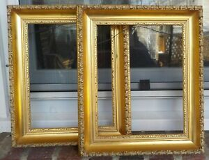 Vintage Mid Century Modern Gilded Bright Gold Pair Frames 8 X 10 In Fit C1960s