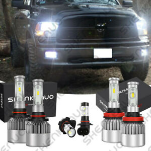 6x 6000k Led Headlight Fog Light Bulbs For 2009 2012 Dodge Ram 1500 2500 3500