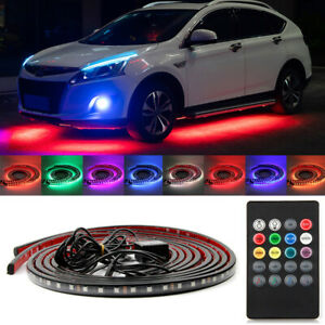 Remote Control Rgb Led Strip Under Car Underbody Underglow Neon Lighting Kit
