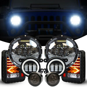 New 7 Inch Round Led Headlights Fog Turn Signal Tail For Jeep Wrangler Jk 07 18