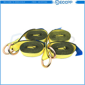 4pcs 12 Lasso Straps Tire Wheel Tie Down Wrecker Car Hauler Tow Truck Strap New