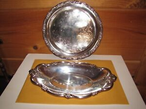 International Silver Co Silver Plated Serving Tray And Bread Bowl Set Floral