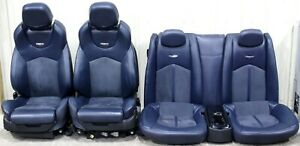 2009 2015 Cadillac Cts v Coupe Blue Leather W Suede Recaro Seat Set Used Oem Gm
