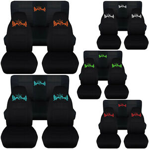 Front rear Car Seat Covers Black W mountain Sunset Fits Wrangler Yj tj lj