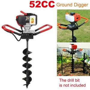 52cc 2 stroke Gas Powered Earth Auger Post Hole Digger Borer Fence Ground 1700w