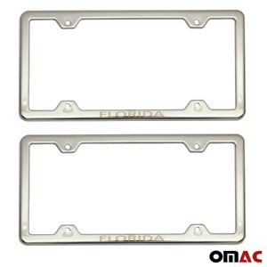 Florida Print License Plate Frame Tag Holder Chrome S Steel For Toyota Corolla