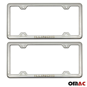 Illinois Print License Plate Frame Tag Holder Chrome S Steel For Toyota Corolla