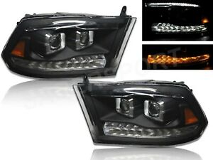 Black Projector Headlights W Switchback Led For 2009 2018 Ram 1500 All Model