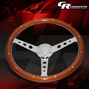 15 Riveted Wooden Wood Steering Wheel 2 Deep Dish Stainless Spoke W Horn Button