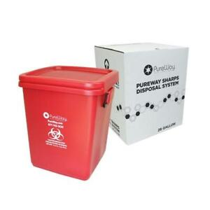 Pureway Sharps Collection Bin Healthcare Waste Disposal Prepaid Return
