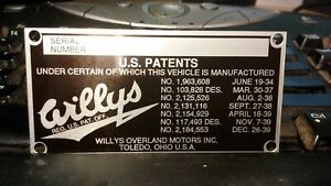 1953 1934 Willys Overland Jeep Nos Firewall Plac Id Serial Hot Rod Parts 419