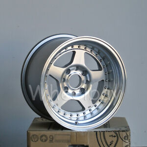 4 Pcs Rota Wheel Kyusha 15x9 4x100 0 Full Polish Silver 4 Lip