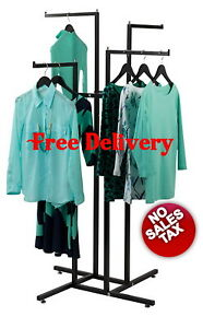 4 Way Clothing Garment Display Rack For Retail Shop Store Commercial Heavy Duty