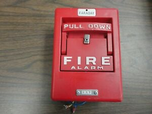 Faraday 117 Coded Fire Alarm Pull Station Red Metal Pre Owned