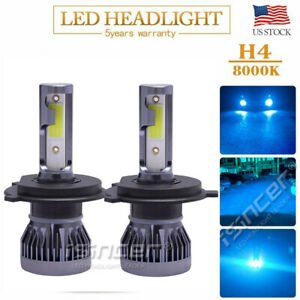H4 9003 Led Headlight Bulbs Kit High Low Beam Upgrade 55w 8000lm 8000k Blue