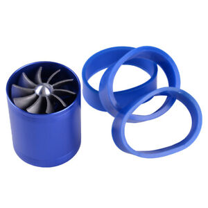 Double Dual Air Intake Supercharger Turbo Turbine Fuel Saver Fan Blue New