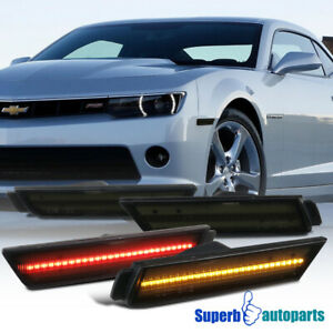 For 2010 2015 Chevy Camaro Led Laser Style 4pc Signal Side Markers Lights Smoke