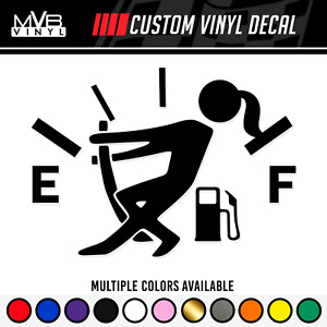 Low Gas Girl Vinyl Decal Funny Car Truck Sticker Fuel Gauge Empty Stick Girl
