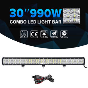 30 Inch 990w Cree Led Light Bar Tri Row Combo Offroad For Jeep Driving Truck 32