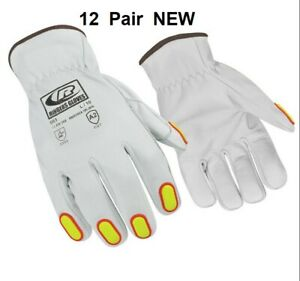 12 Pair Lot Leather Driver Work Safety Gloves Size L 10 Goat Skin