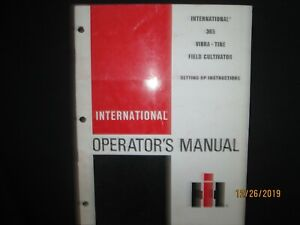 International Harvester 365 Vibra Tine Field Cultivator Operator s Set Up Manual