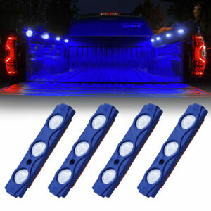 Xprite Blue 4pcs Led Decorative Lighting Pods Waterproof For Pickup Trucks Bed