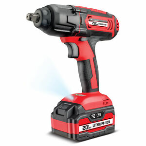 Powerbuilt 20v Cordless 1 2 Impact Wrench 350 Ft Lb 4ah Lithium Ion 240133